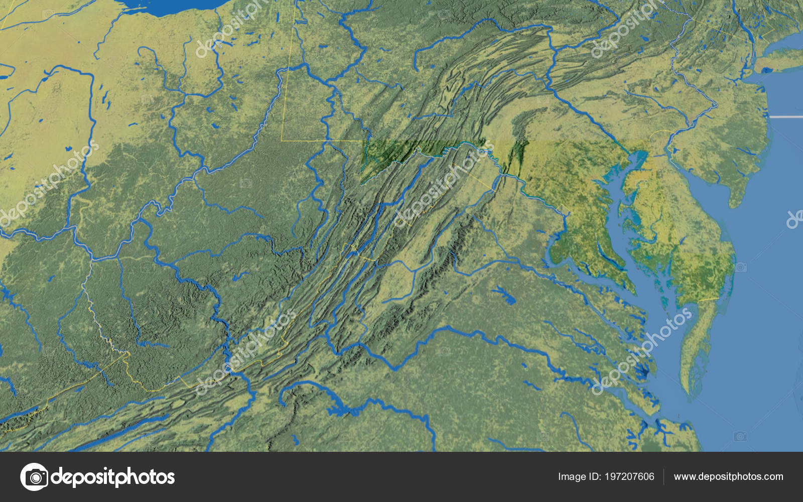 Maryland Region United States Outlined Topographic Map — Stock Photo ...