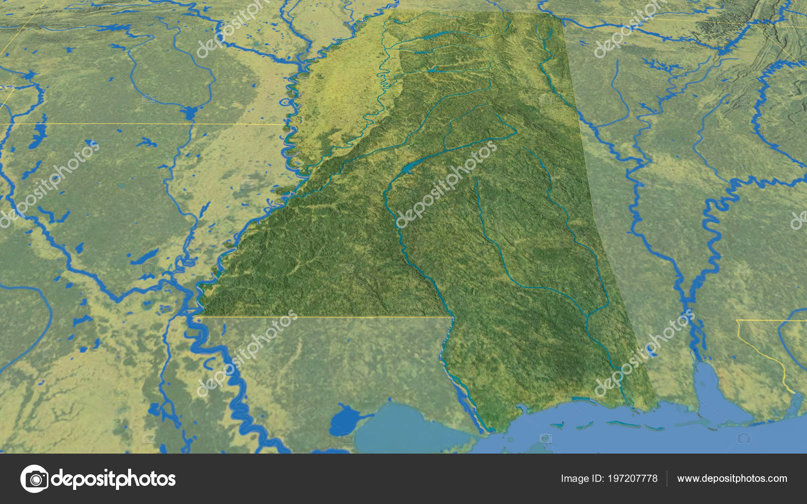 Topographic Map Mississippi.Mississippi Region United States Extruded Topographic Map Stock