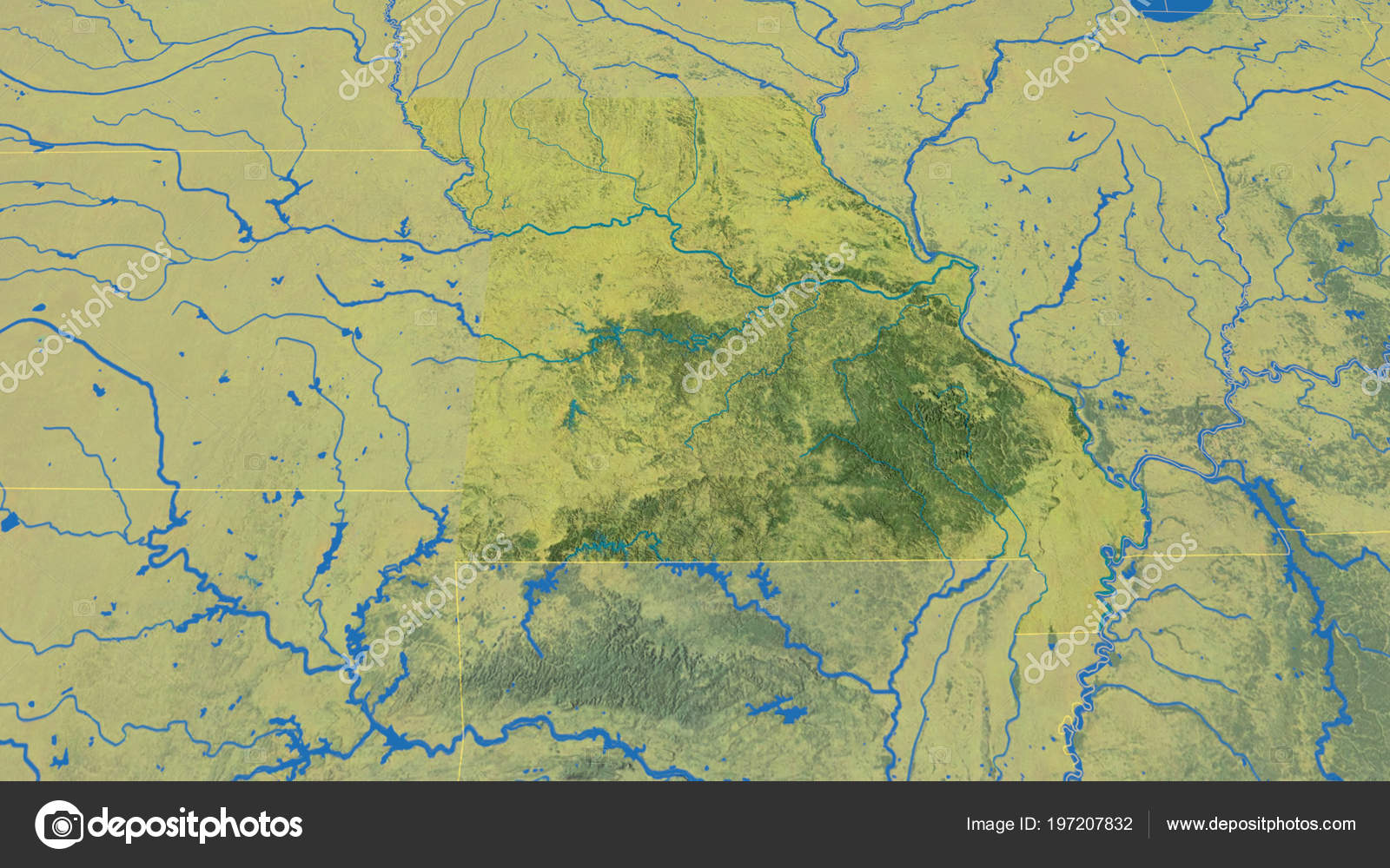 Missouri Region United States Outlined Topographic Map ...