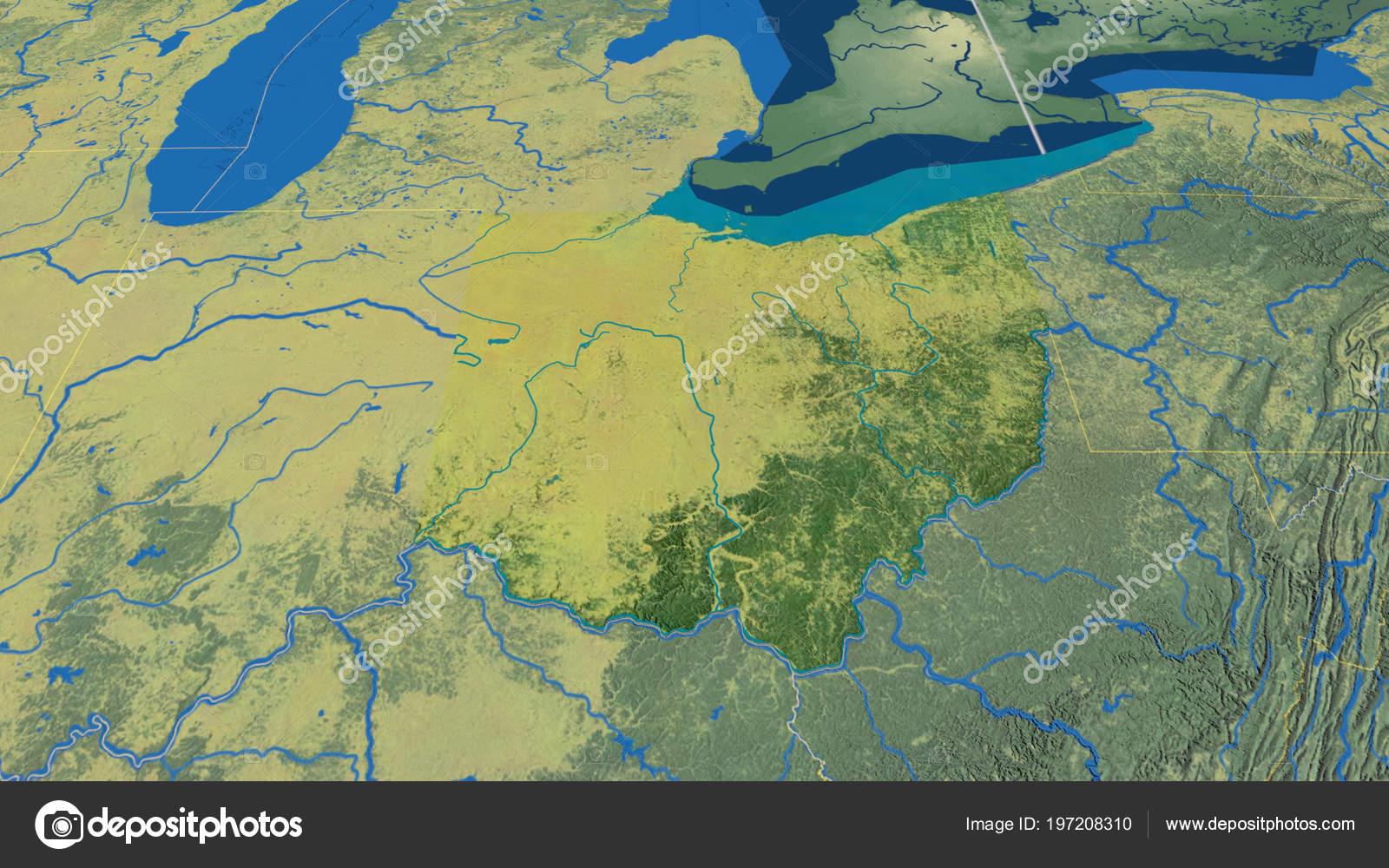 Ohio Region United States Extruded Topographic Map — Stock Photo on