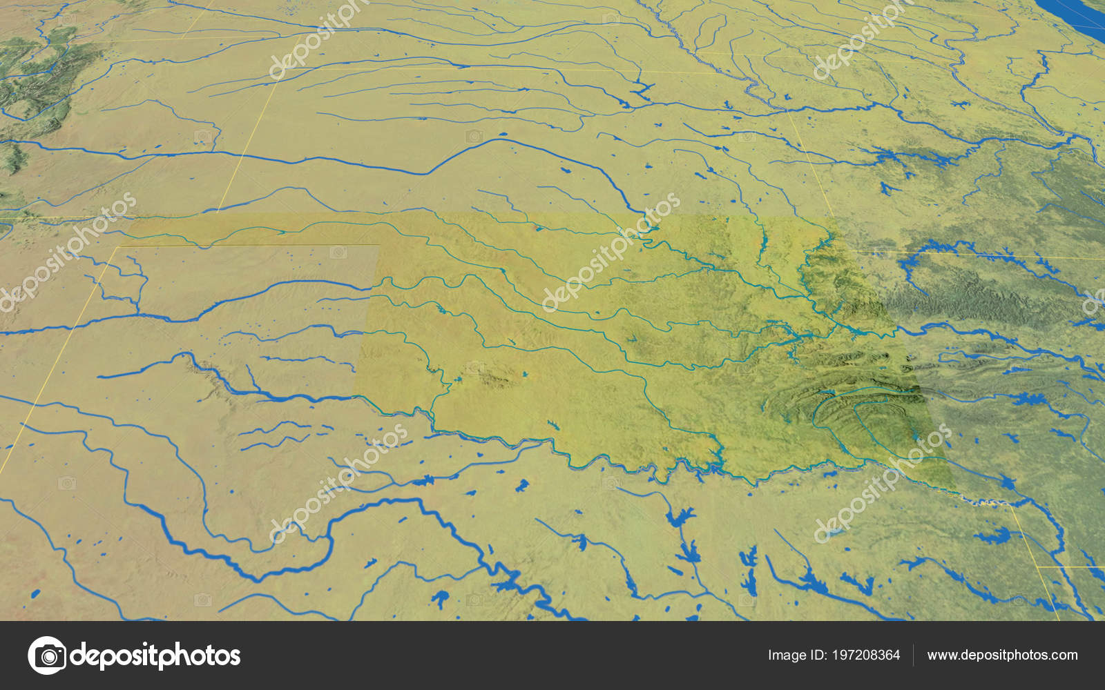 Topographic Map Oklahoma.Oklahoma Region United States Extruded Topographic Map Stock Photo