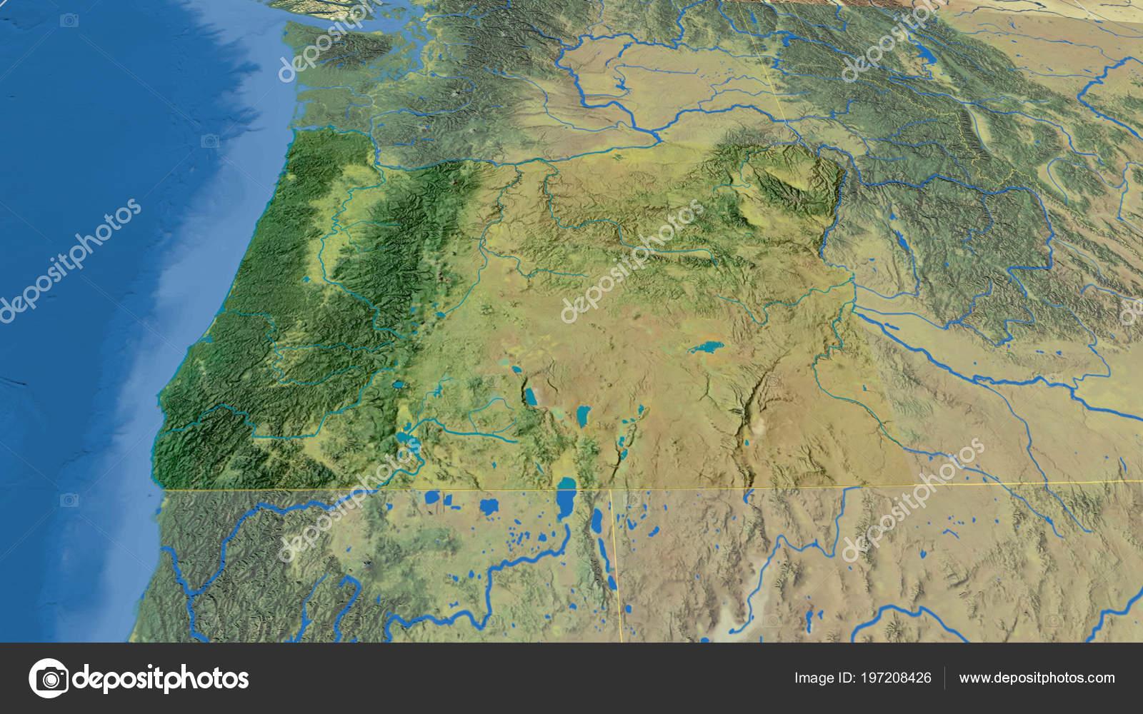 Oregon Region United States Extruded Topographic Map Stock Photo