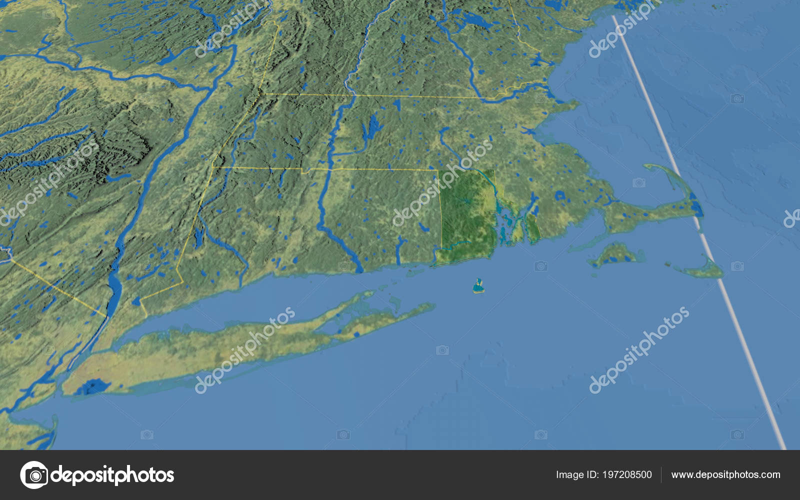 Topographic Map Rhode Island.Rhode Island Region United States Extruded Topographic Map Stock