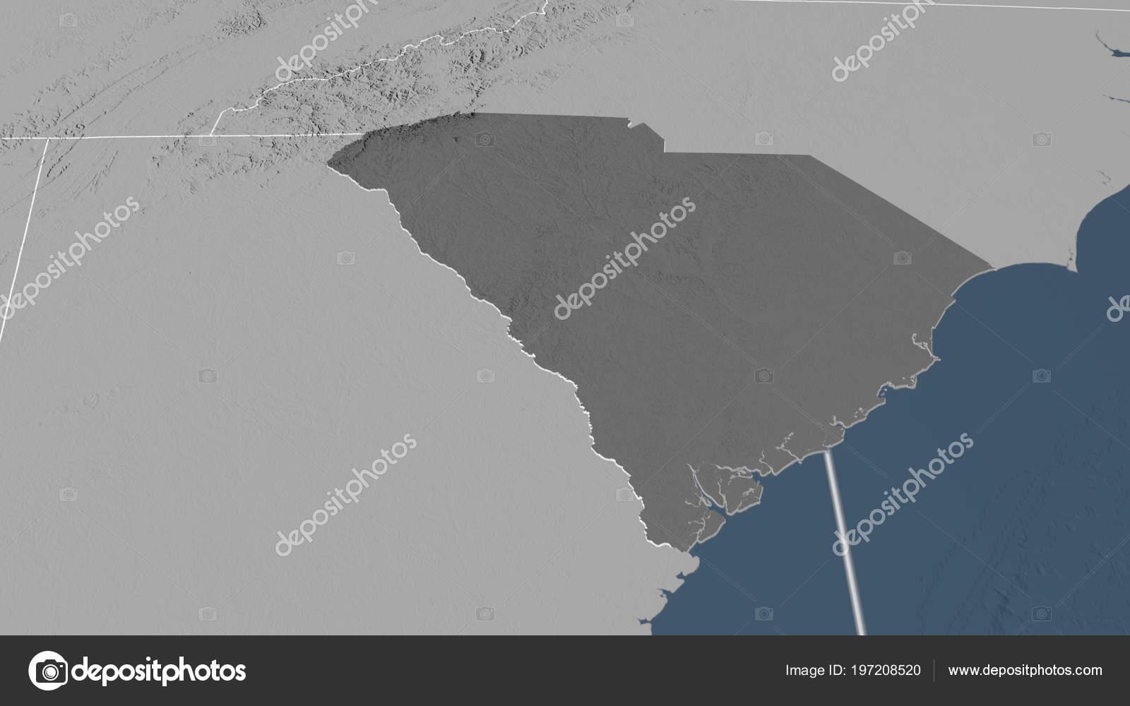 South Carolina Region United States Outlined Bilevel Elevation Map ...