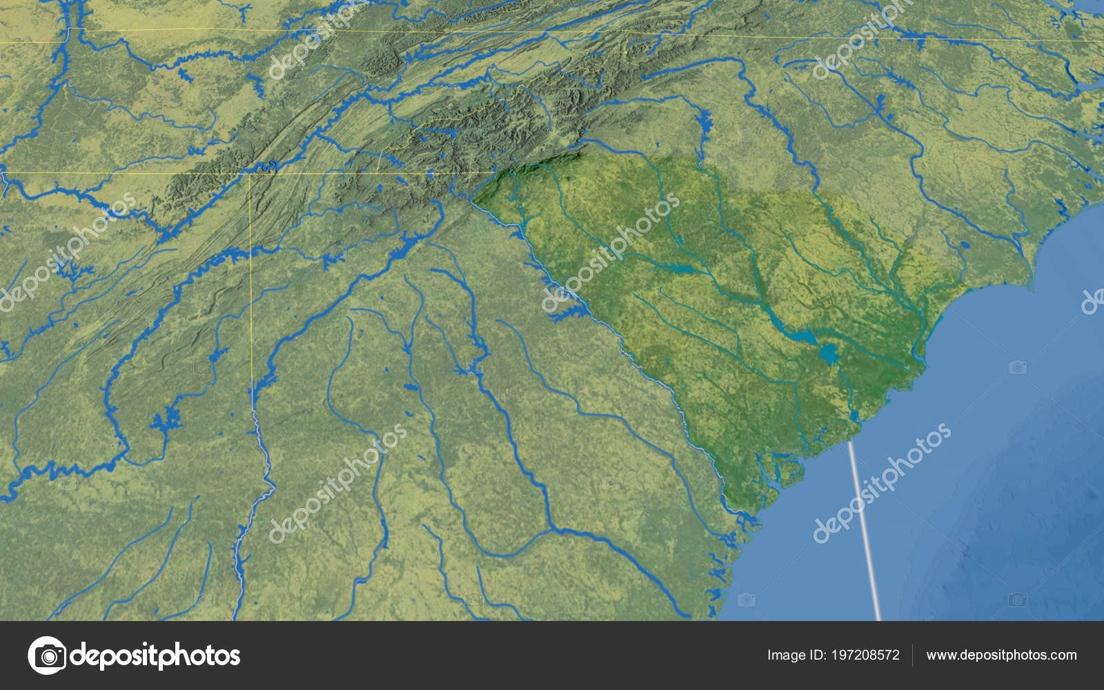 South Carolina Region United States Outlined Topographic Map — Stock ...