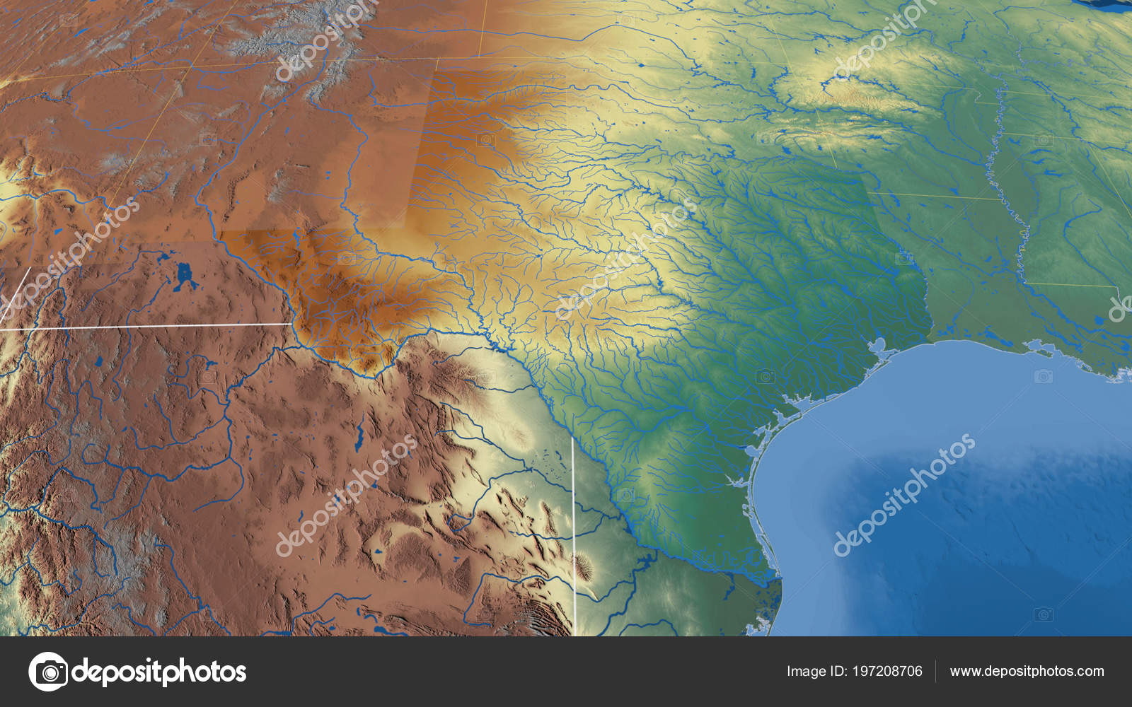Relief Map Of Texas.Texas Region United States Outlined Topographic Relief Map Stock