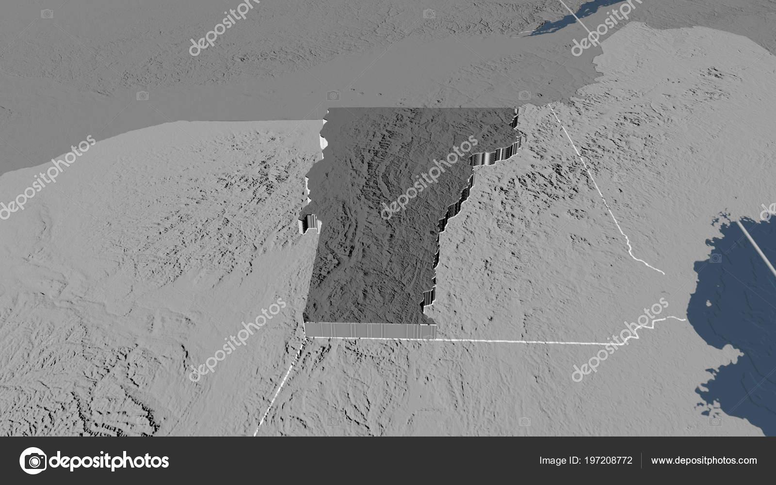 Vermont Region United States Extruded Bilevel Elevation Map Stock