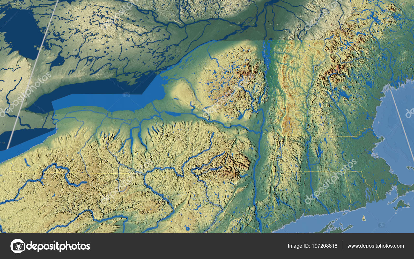 Relief Map Of United States.Vermont Region United States Outlined Topographic Relief Map Stock