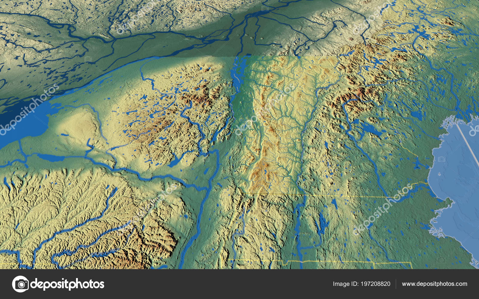 Relief Map Of United States.Vermont Region United States Extruded Topographic Relief Map Stock