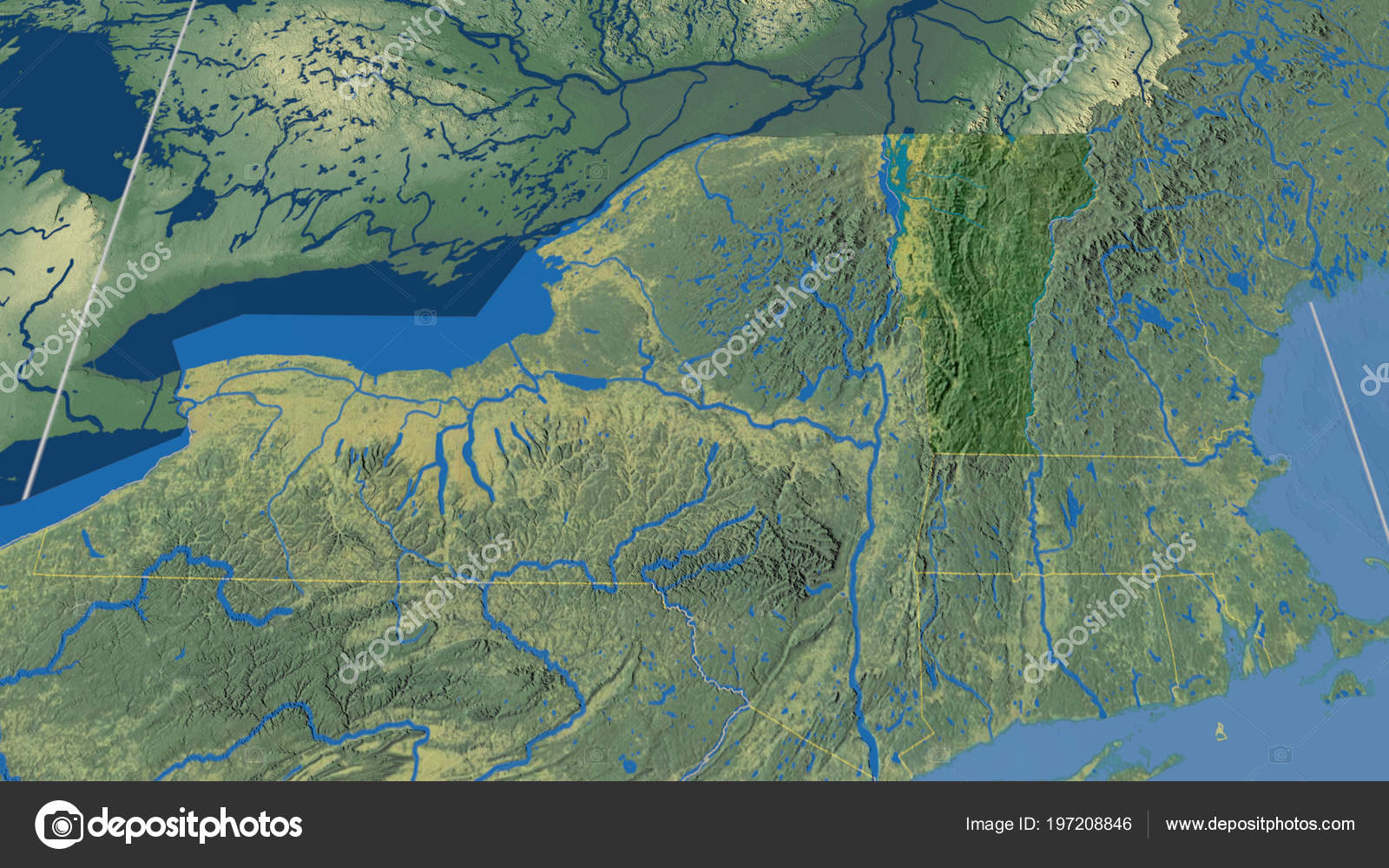 Vermont Region United States Outlined Topographic Map Stock Photo