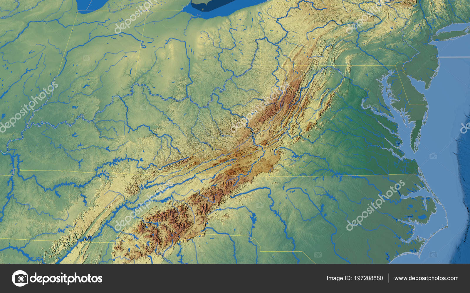 Relief Map Of Virginia.Virginia Region United States Outlined Topographic Relief Map