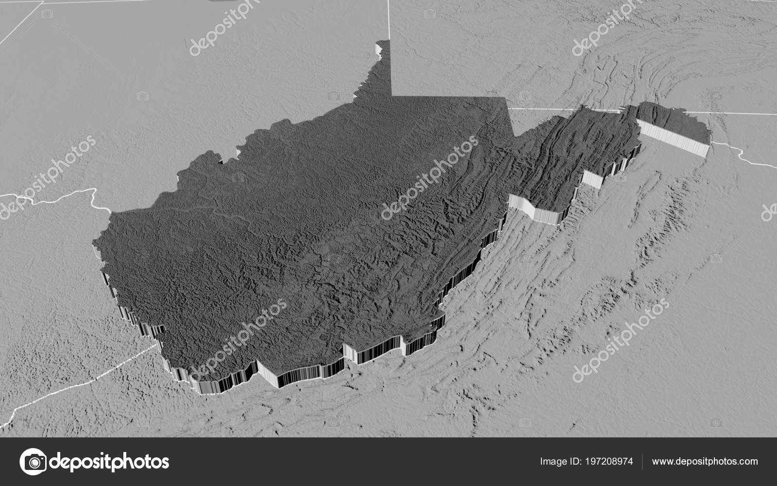 West Virginia Region United States Extruded Bilevel Elevation Map