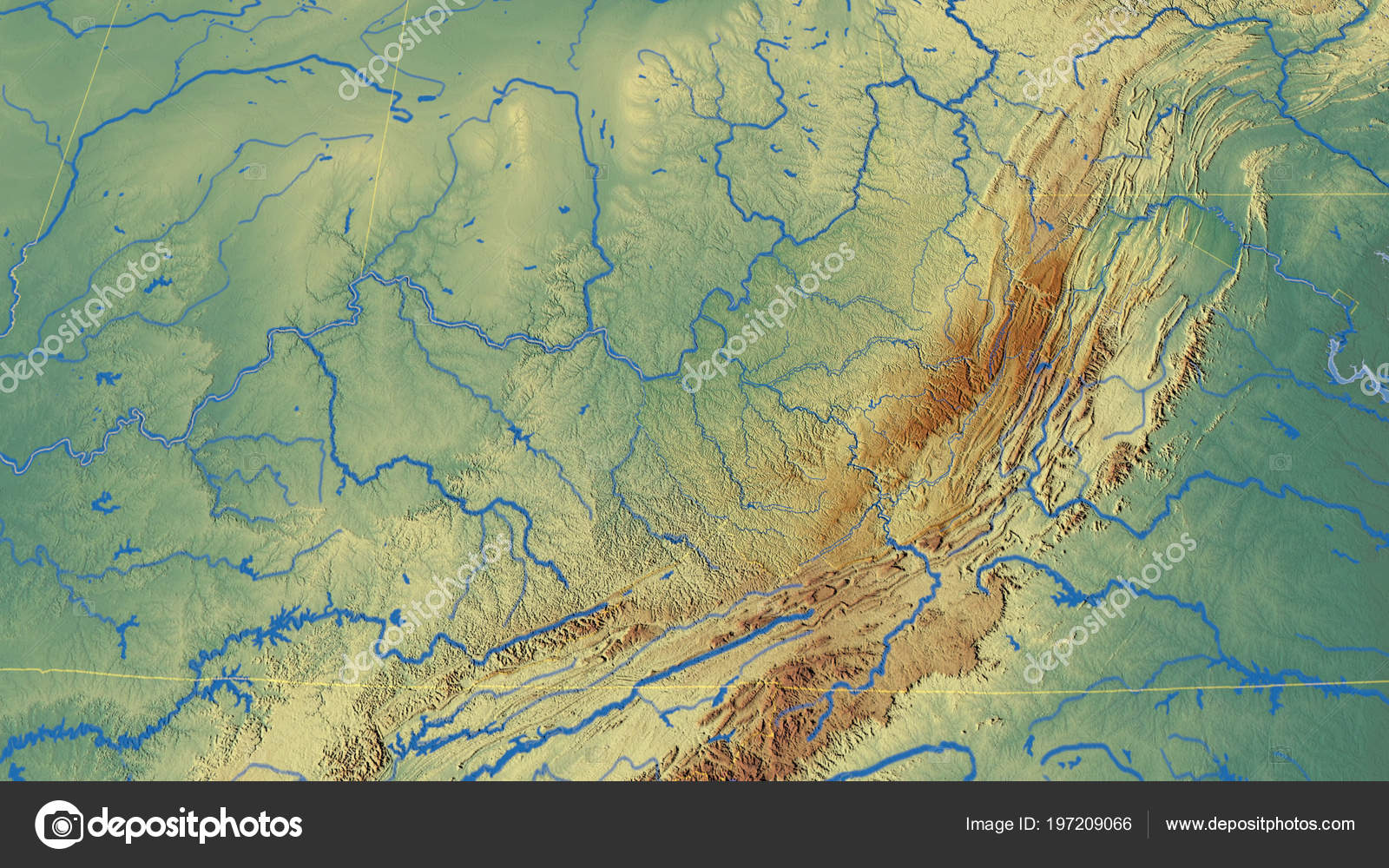 Relief Map Of Virginia.West Virginia Region United States Outlined Topographic Relief Map