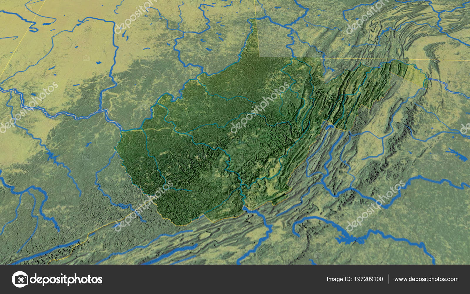 Topographic Map West Virginia.West Virginia Region United States Extruded Topographic Map Stock