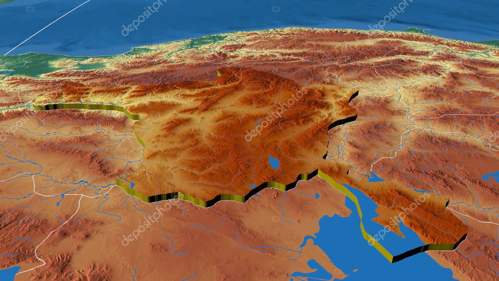 Ankara, region of Turkey extruded. Color physical map