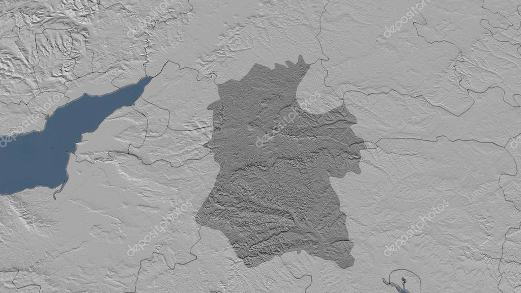 Wiltshire, region of United Kingdom outlined. Bilevel elevation map