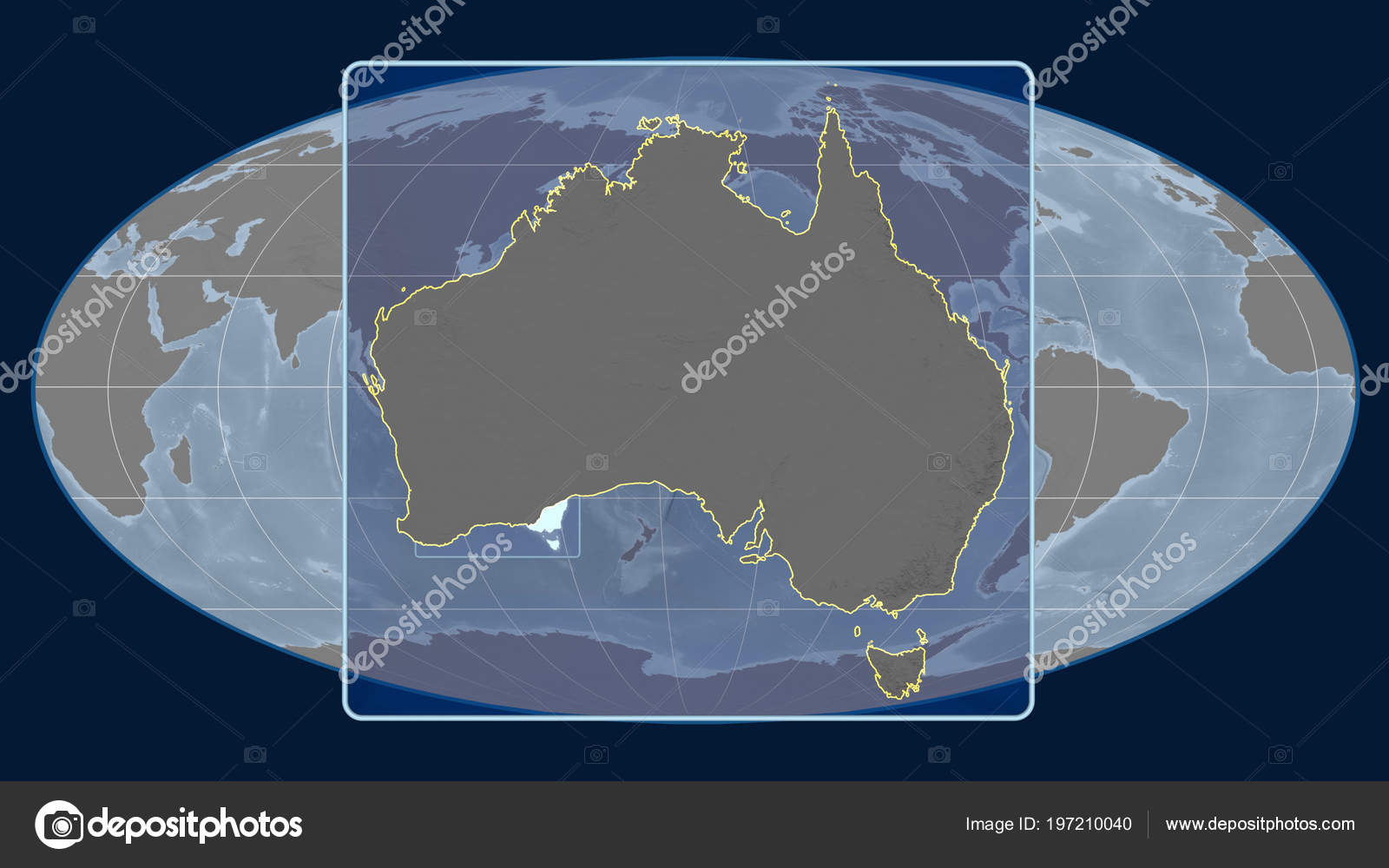 Australia Global Map.Zoomed View Australia Outline Perspective Lines Global Map Mollweide