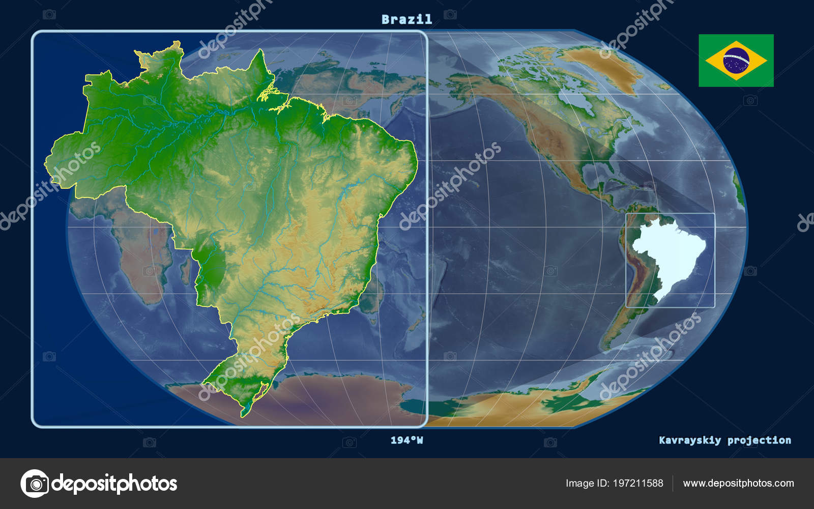 Zoomed View Brazil Outline Perspective Lines Global Map Kavrayskiy