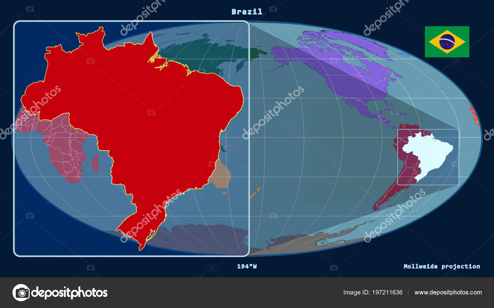 Zoomed View Brazil Outline Perspective Lines Global Map Mollweide