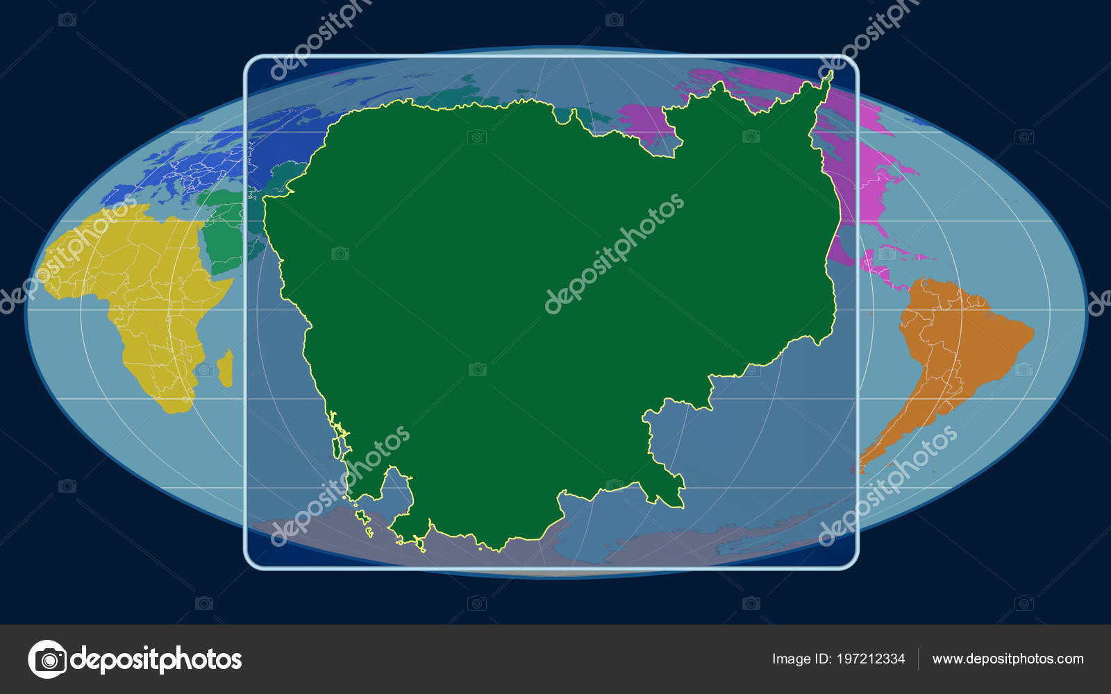 Zoomed View Cambodia Outline Perspective Lines Global Map Mollweide on
