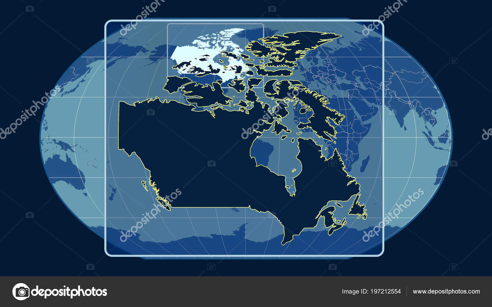 Zoomed View Canada Outline Perspective Lines Global Map Kavrayskiy on new world map canada, zoomed in world map, color map of canada, close up map of canada, landscape map of canada, atlas map of canada,