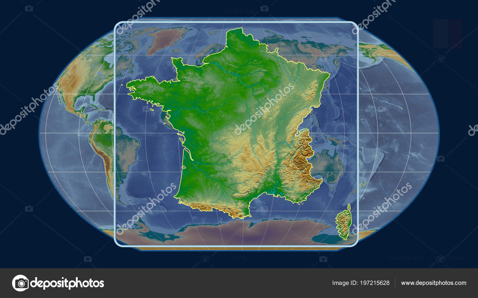 Physical Map Of France Outline.Zoomed View France Outline Perspective Lines Global Map Kavrayskiy