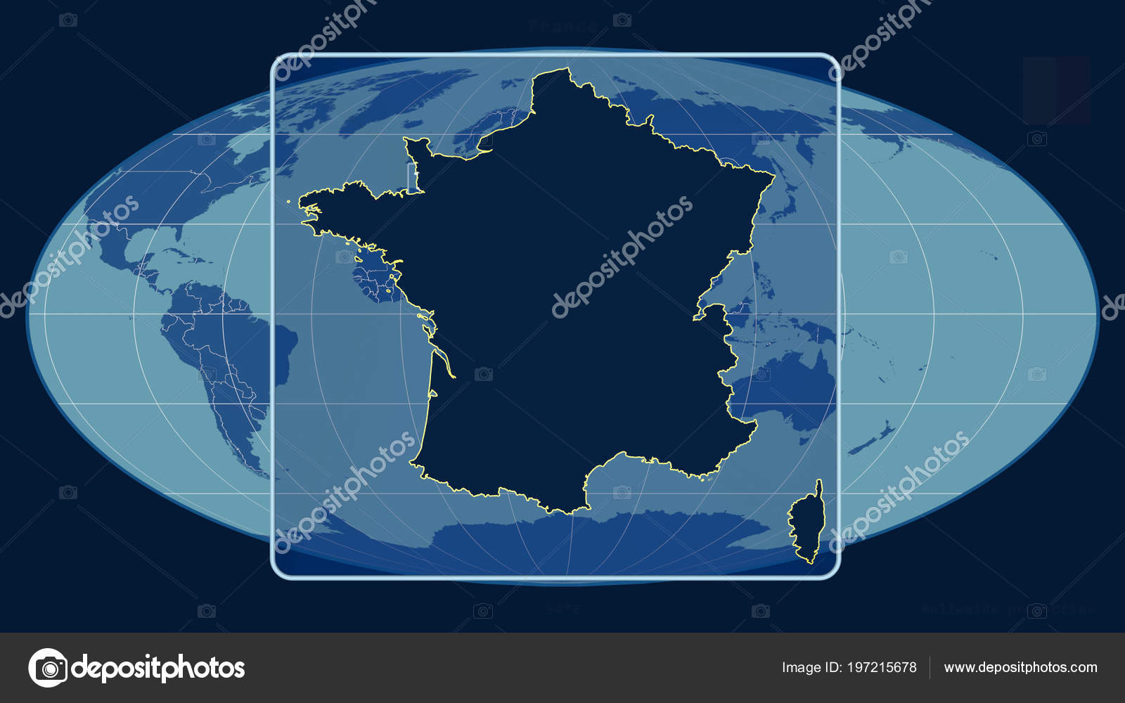 Map Of France Outline Only.Zoomed View France Outline Perspective Lines Global Map Mollweide