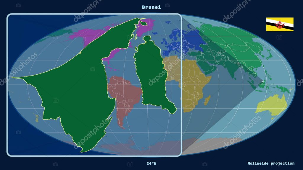 Zoomed-in view of Brunei outline with perspective lines against a global map in the Mollweide projection. Shape on the left side. Color map of continents