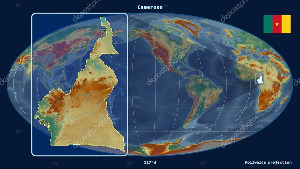 Zoomed-in view of Cameroon outline with perspective lines against a global map in the Mollweide projection. Shape on the left side. Topographic relief map