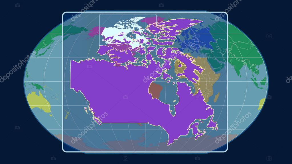 Zoomed-in view of Canada outline with perspective lines against a global map in the Kavrayskiy projection. Shape centered. Color map of continents