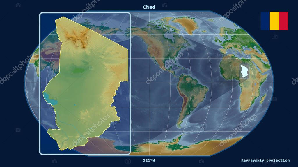 Zoomed-in view of Chad outline with perspective lines against a global map in the Kavrayskiy projection. Shape on the left side. Color physical map
