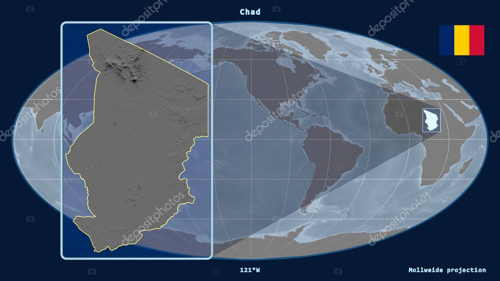 Zoomed-in view of Chad outline with perspective lines against a global map in the Mollweide projection. Shape on the left side. Bilevel elevation map