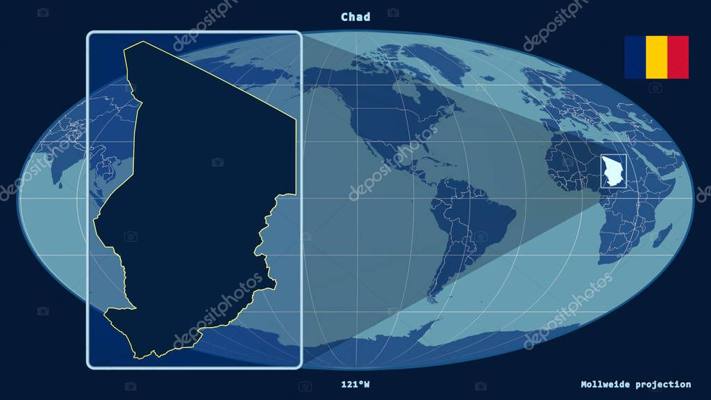 Zoomed-in view of Chad outline with perspective lines against a global map in the Mollweide projection. Shape on the left side. Shapes only - land/ocean mask