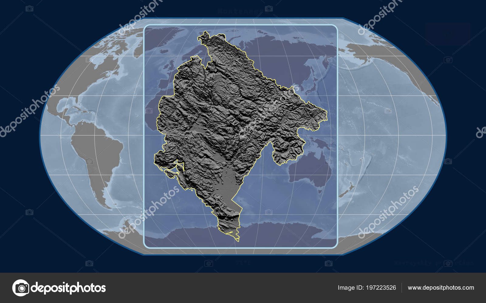 Zoomed View Montenegro Outline Perspective Lines Global Map