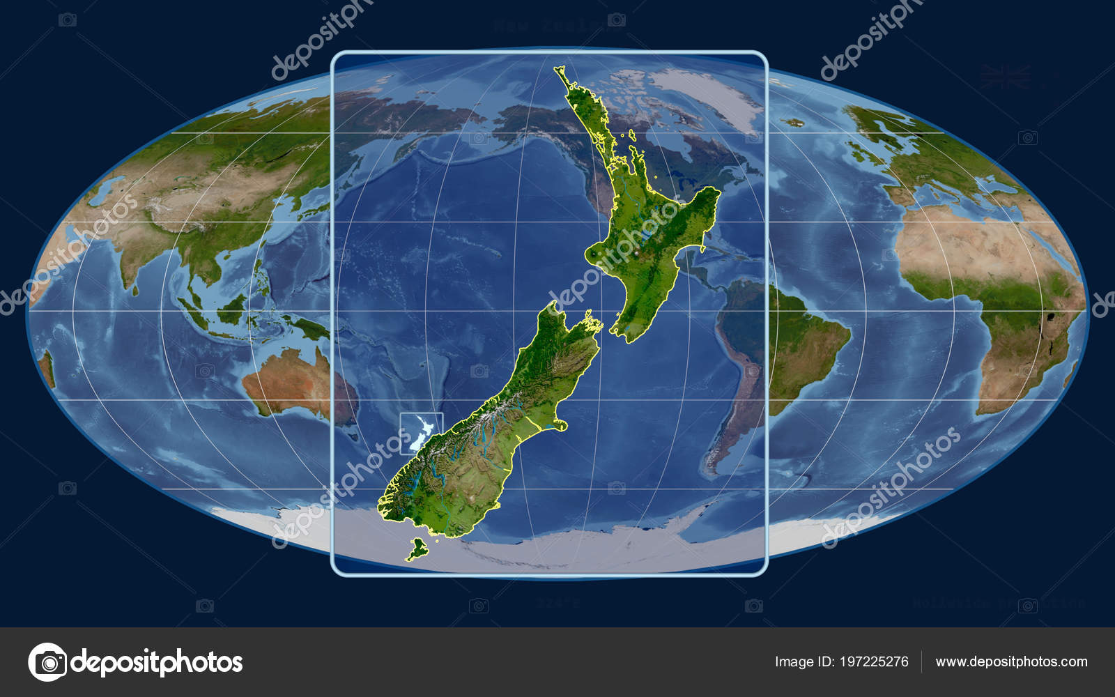 New Zealand Global Map.Zoomed View New Zealand Outline Perspective Lines Global Map
