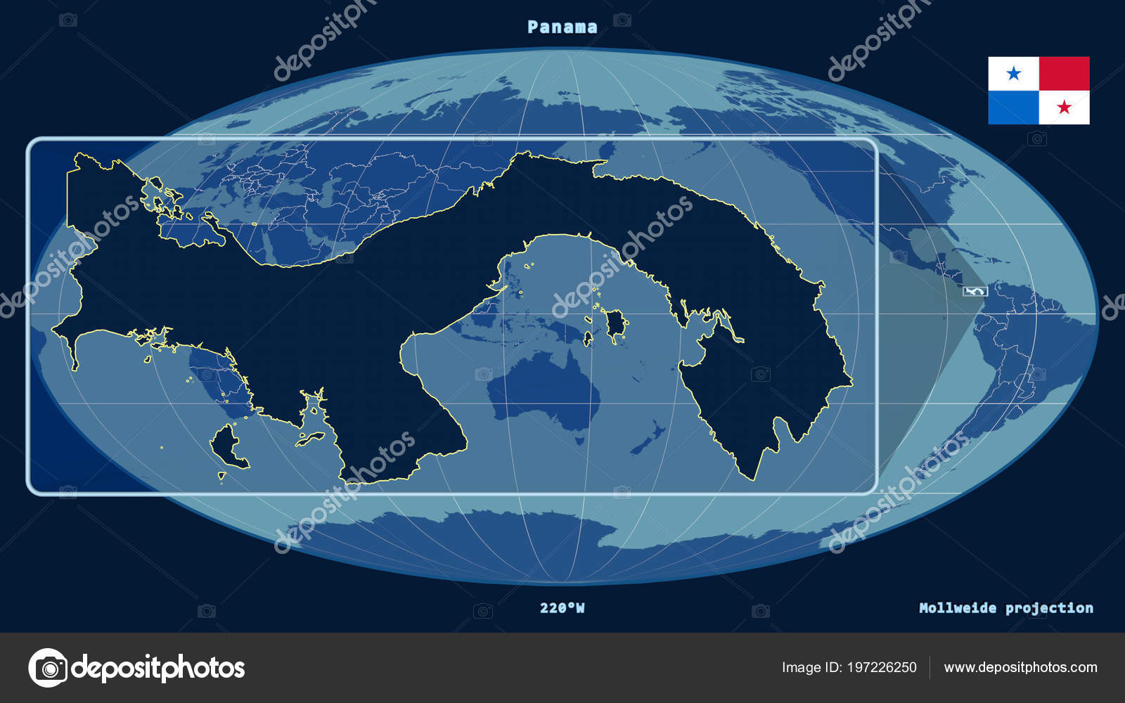 Zoomed View Panama Outline Perspective Lines Global Map Mollweide ...