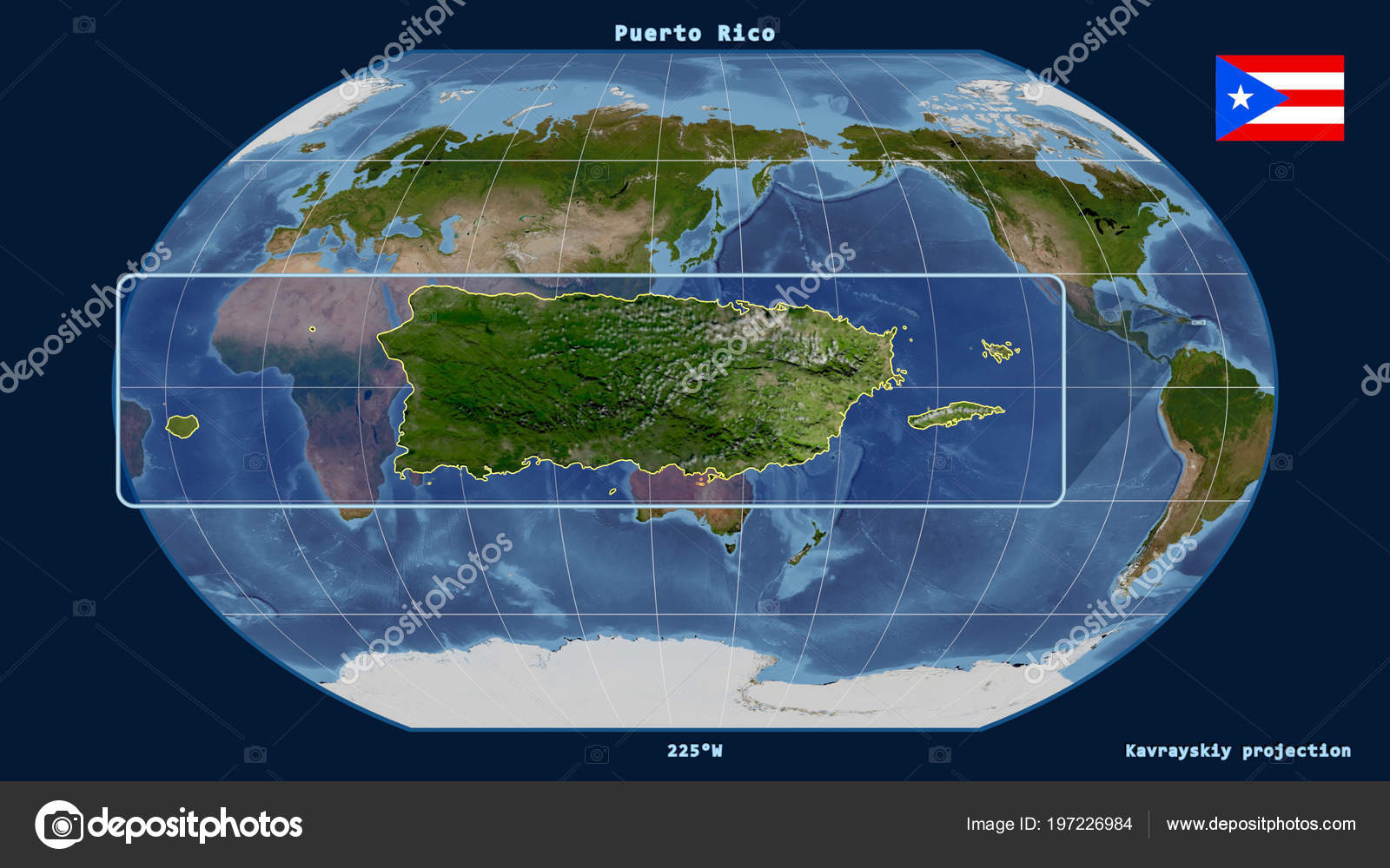 Zoomed View Puerto Rico Outline Perspective Lines Global Map