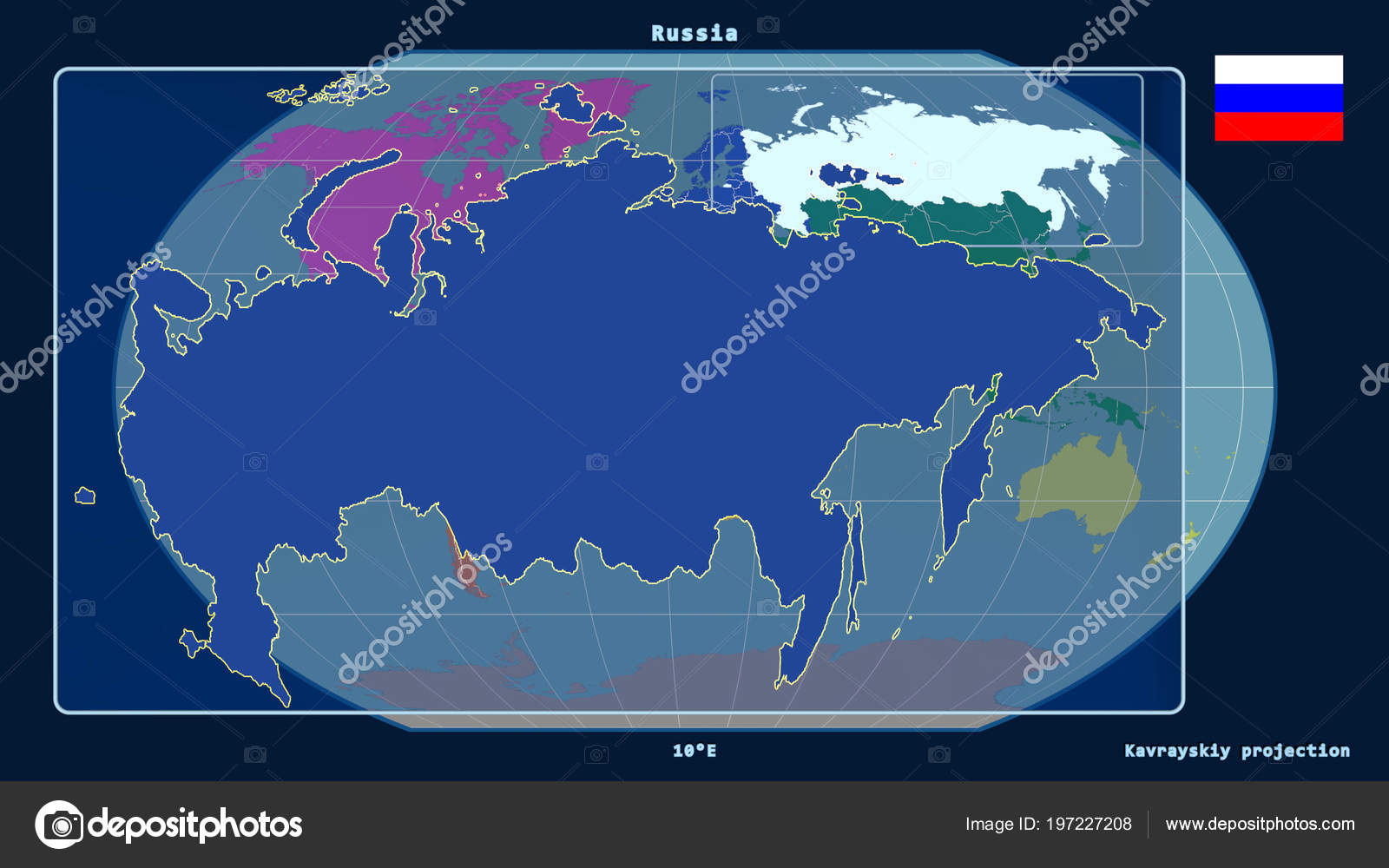 Zoomed View Russia Outline Perspective Lines Global Map Kavrayskiy on red sea in map, yellowstone falls map, see a world map, new world map,