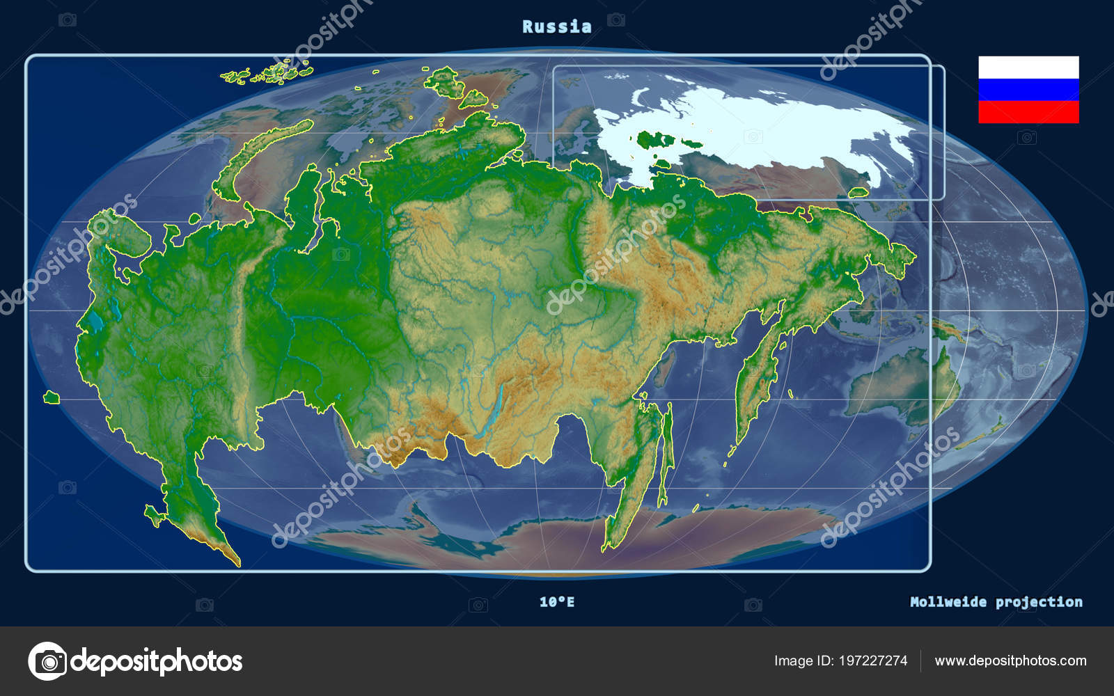 Russia Global Map.Zoomed View Russia Outline Perspective Lines Global Map Mollweide