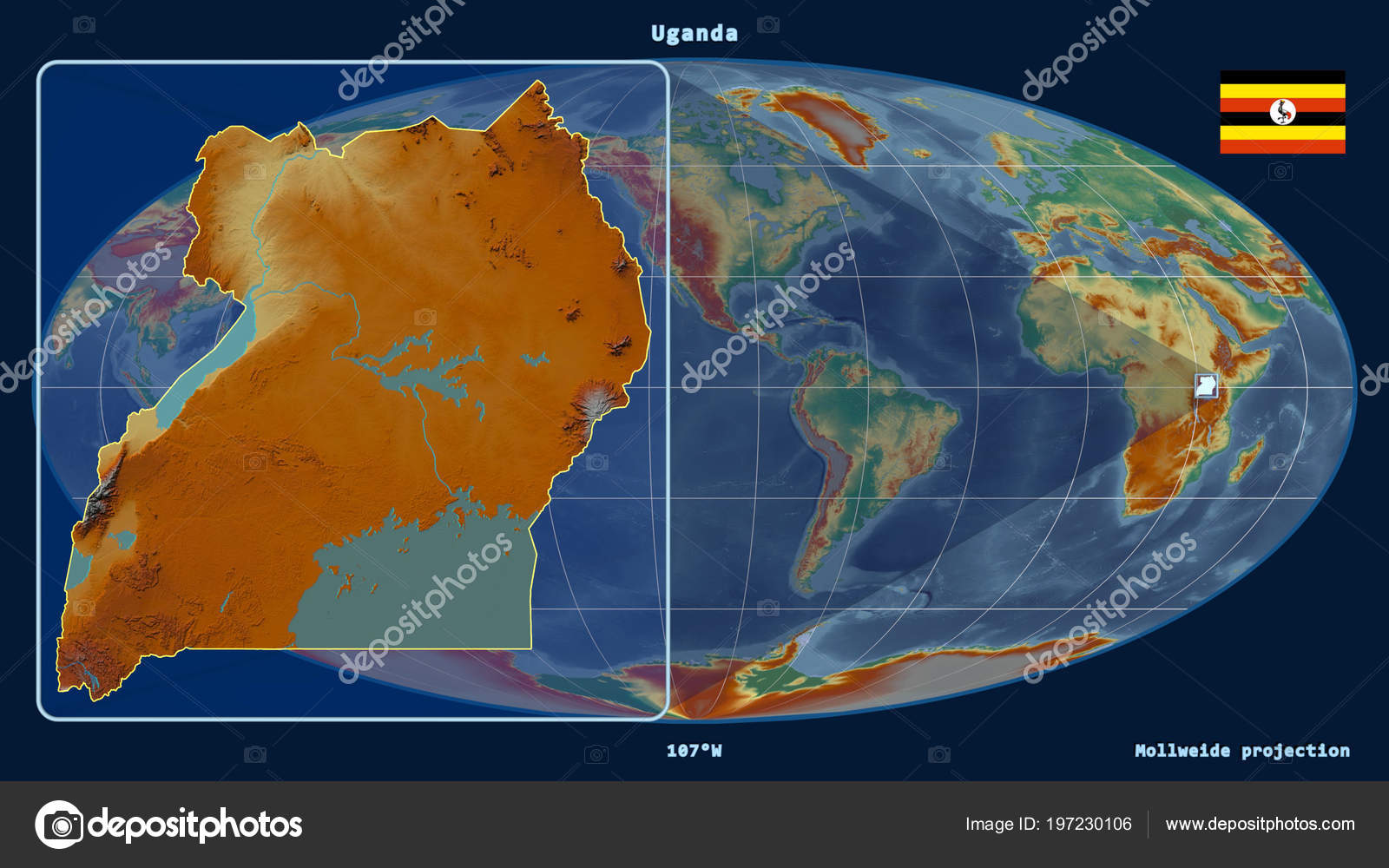 Zoomed View Uganda Outline Perspective Lines Global Map Mollweide ...