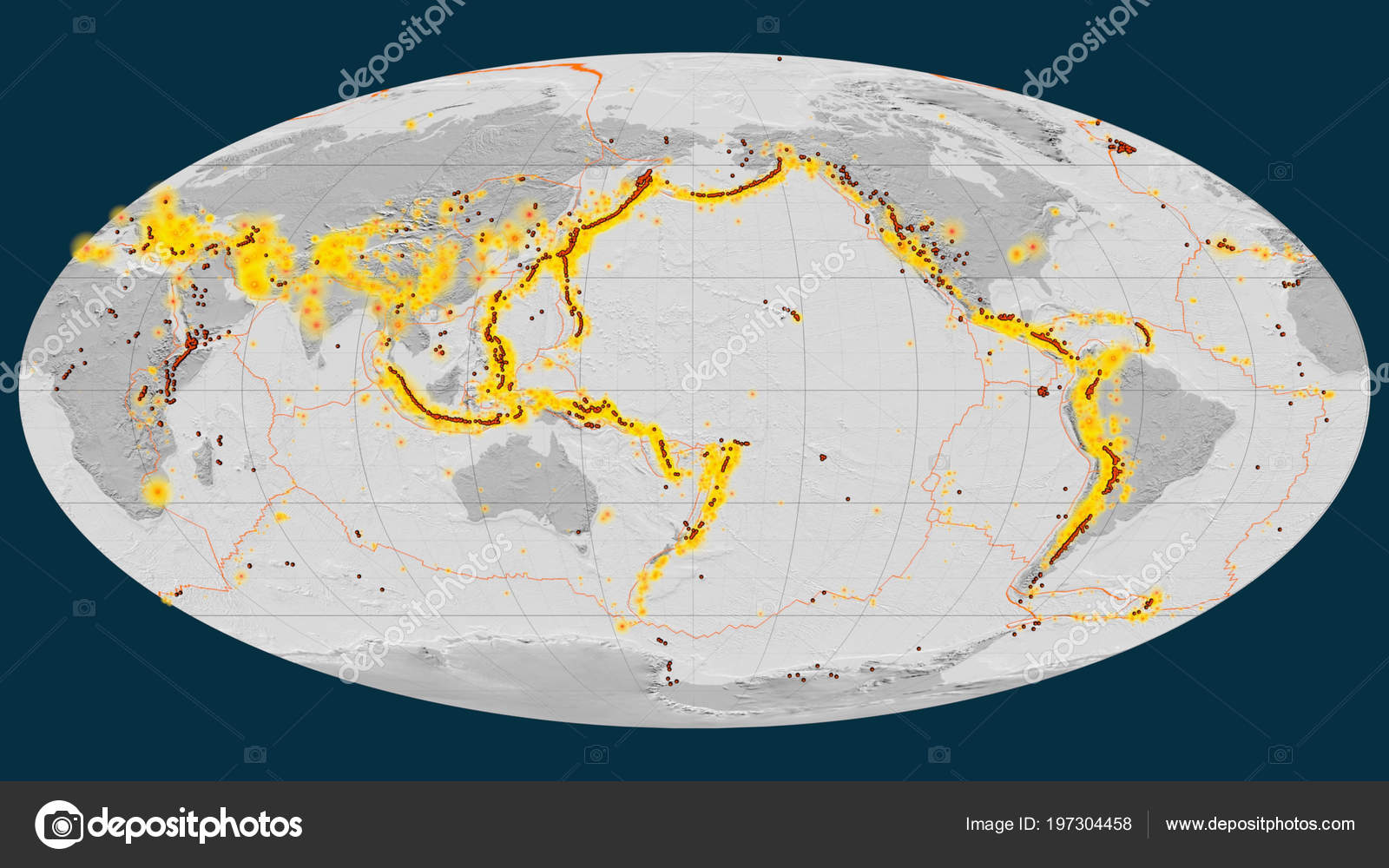 Earthquakes Volcanoes Distribution Pacific Ring Fire Global Bilevel