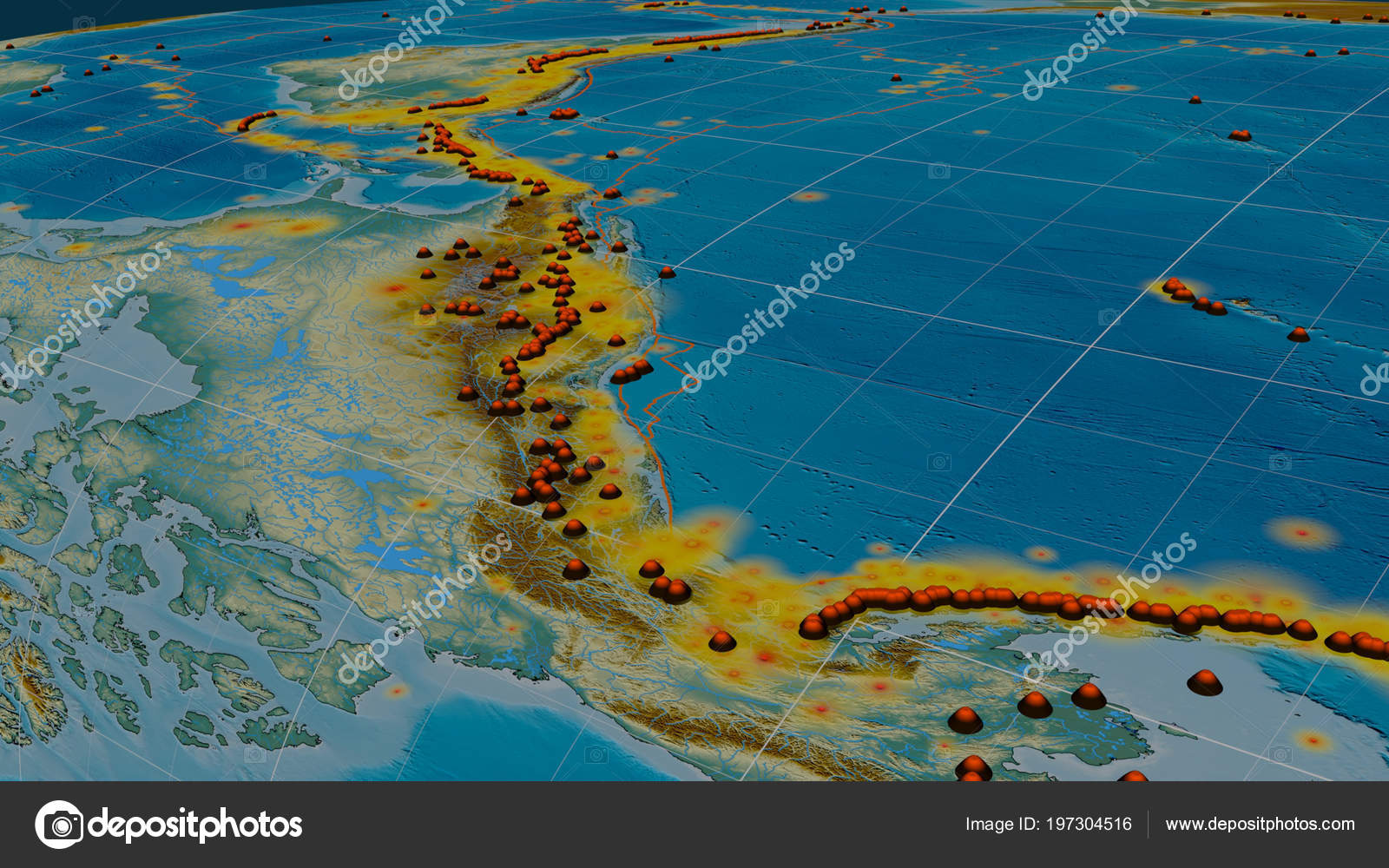 Earthquakes Volcanoes Distribution Pacific Ring Fire Global Relief