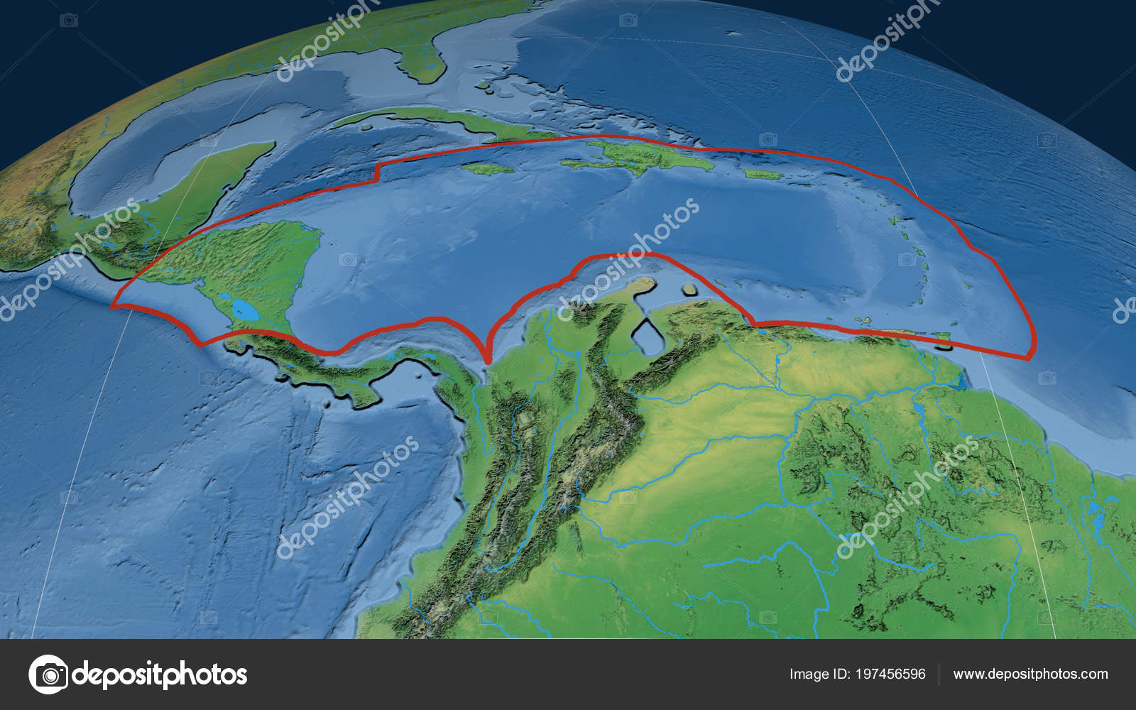 Caribbean Topographic Map.Caribbean Tectonic Plate Outlined Globe Natural Earth Topographic