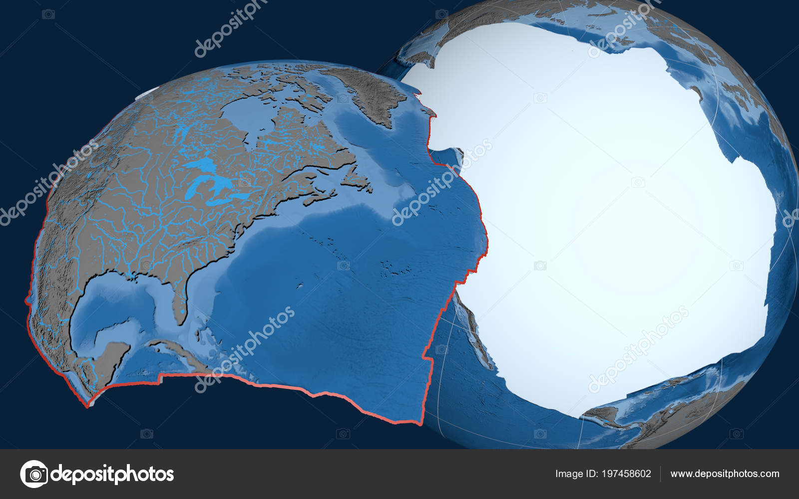 North America Tectonic Plate Extruded Presented Globe ...