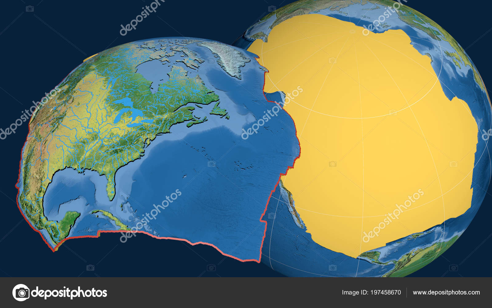North America Tectonic Plate Extruded Presented Globe Topographic