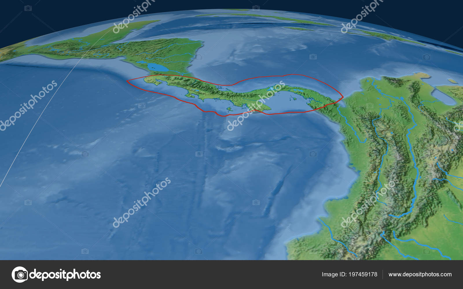 Topographic Map Of Panama.Panama Tectonic Plate Outlined Globe Natural Earth Topographic Map