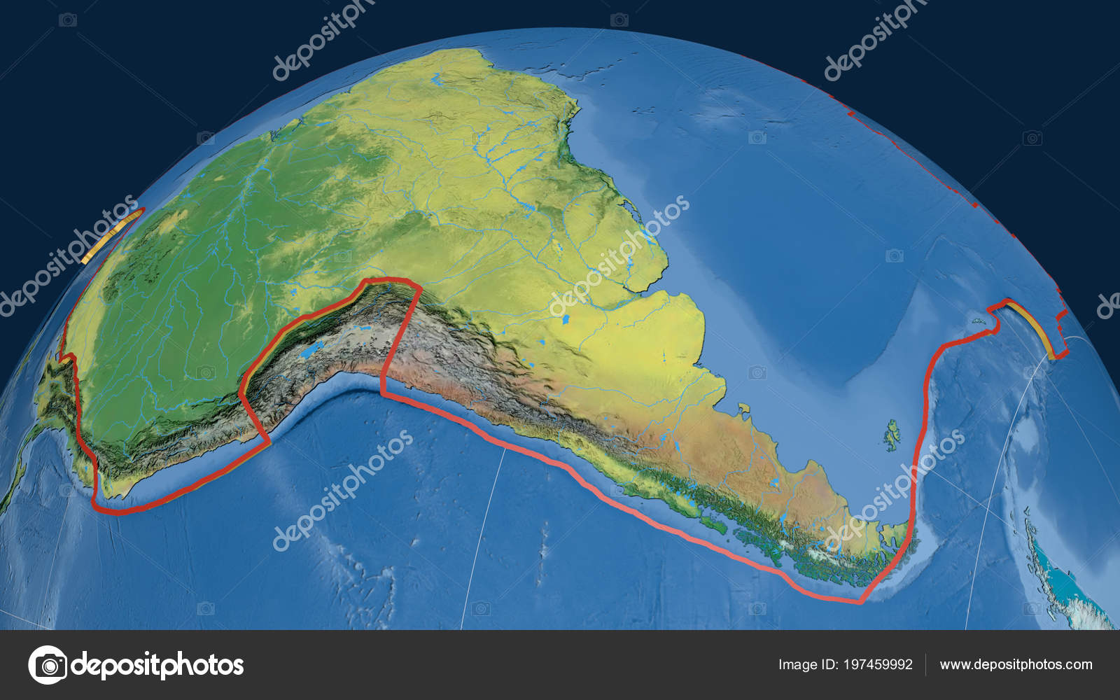 South America Tectonic Plate Extruded Globe Topographic Map Stock