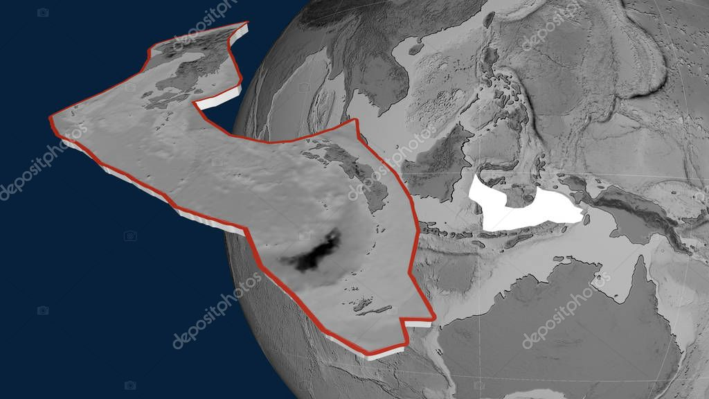 Banda Sea tectonic plate extruded and presented against the globe. Grayscale elevation map