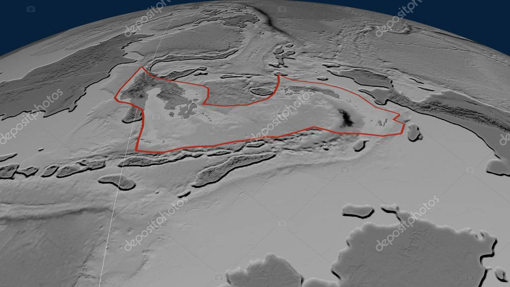 Banda Sea tectonic plate outlined on the globe. Grayscale elevation map