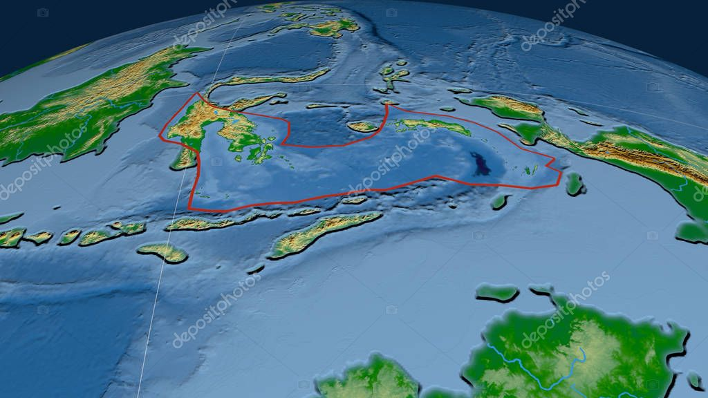 Banda Sea tectonic plate outlined on the globe. Color physical map